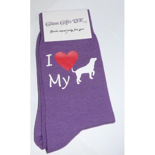 I Love My Dog on Purple Socks, Great Novelty Gift Adult size UK 6-12 Ideal for a Christmas, birthday or anytime gift Socks - labrador, pug, bulldog