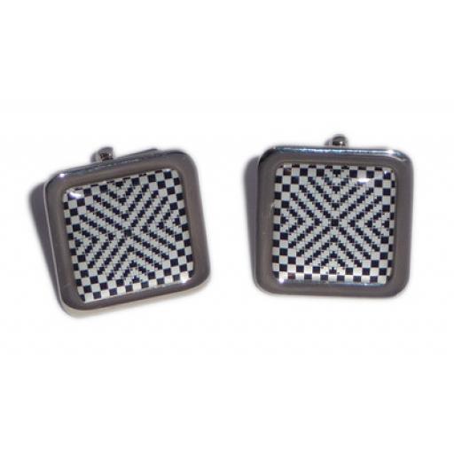 Black & White Cross Squares Illusion cufflinks
