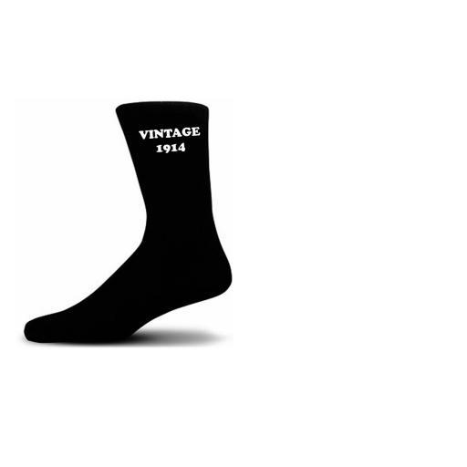 Vintage 1914 Black Cotton Rich 100th Birthday Novelty Socks