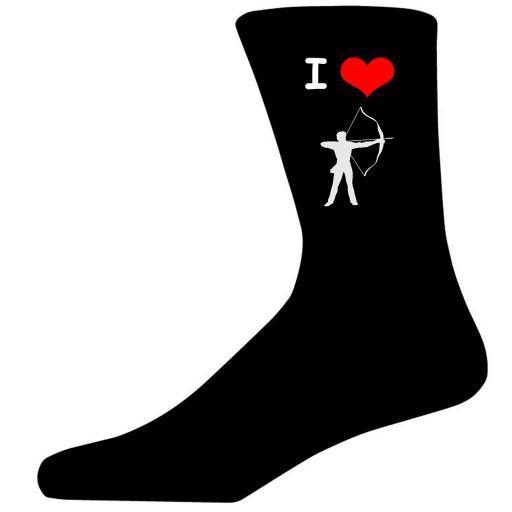 I Love Archery Picture Socks. Black Cotton Novelty Socks. Adult UK 5-12