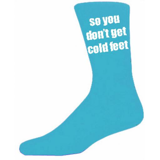 Turquoise Mens Wedding Socks - High Quality So you Don't Get Cold Feet Cotton Rich Turquoise Socks (Adult 6-12)