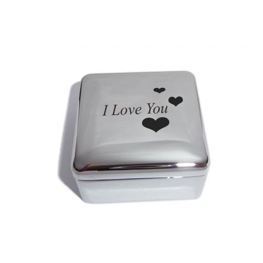 I Love You Square Trinket Jewellery Box with Love Hearts