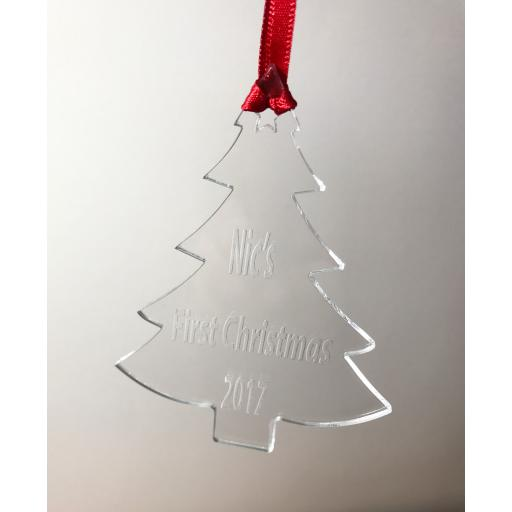 Clear Acrylic Hanging tree - Christmas Tree / Home Decor- Free Personalisation