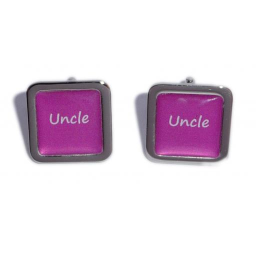 Uncle Hot Pink Square Wedding Cufflinks