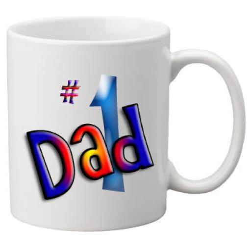 Number 1 Dad in Colour Design - 11oz Mug, Great Novelty Mug