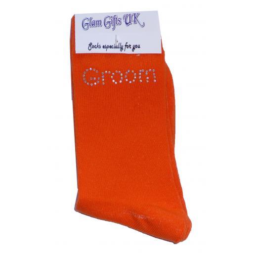 Orange Wedding Socks - Groom In Clear Sparkely AB Crystals