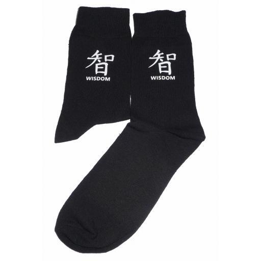 White Chinese Symbol for Wisdom Socks, Great Novelty Gift Socks Luxury Cotton Novelty Socks Adult size UK 6-12 Euro 39-49