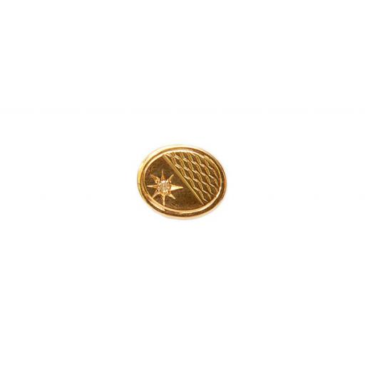 Barley pattern with Diamond - 9ct Gold Tie Tac All our cufflinks come presented in a gift box