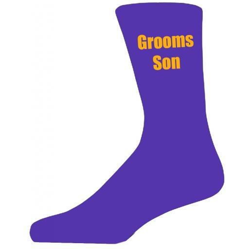 Purple Wedding Socks with Yellow Grooms Son Title Adult size UK 6-12 Euro 39-49