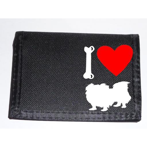 I Love Pekingese Dogs on a Black Nylon Wallet, Stunning Birthday, Fathers Day or Christmas Gift