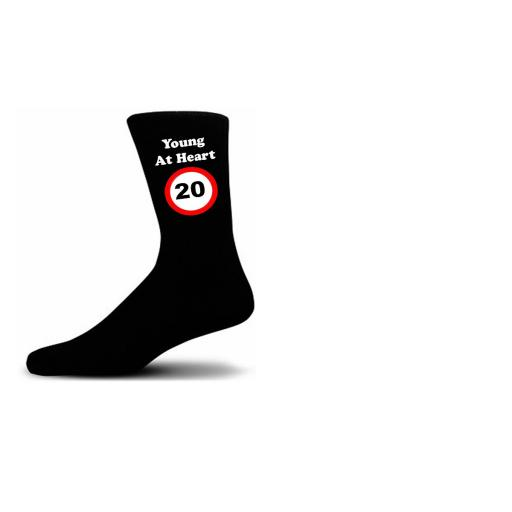 Young At Heart 20 Speed Sign Black Cotton Rich Novelty Birthday Socks
