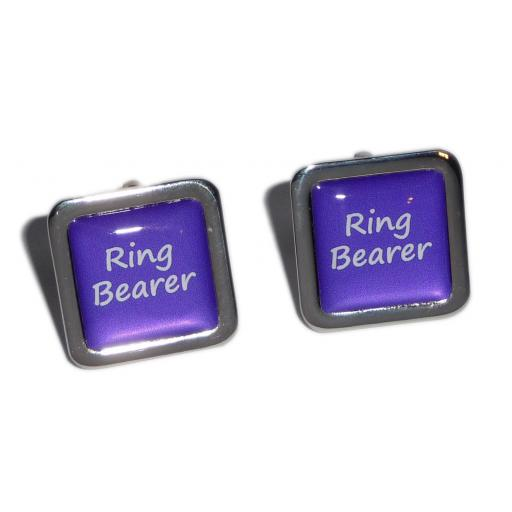Ring Bearer Purple Square Wedding Cufflinks