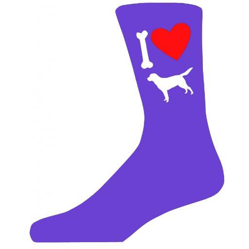 Purple Ladies Novelty Labrador Socks- I Love My Dog Socks Luxury Cotton Novelty Socks Adult size UK 5-12 Euro 39-49