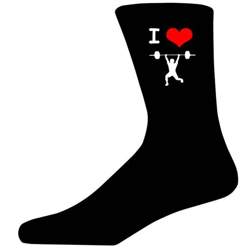 I Love Weight Lifting Picture Socks. Black Cotton Novelty Socks. Adult UK 5-12