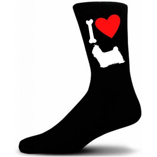 Mens Black Novelty Shih Tzu Socks- I Love My Dog Socks Luxury Cotton Novelty Socks Adult size UK 5-12 Euro 39-49