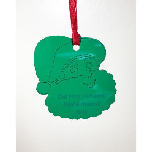 Green Acrylic Hanging Santa - Christmas Tree / Home Decor- Free Personalisation