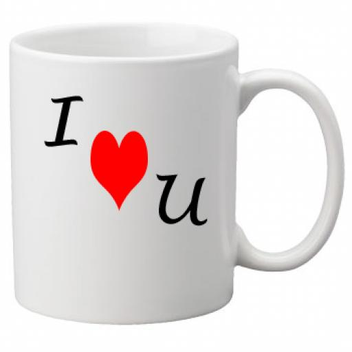 I Heart U - I Love You Diagonally on a Quality Mug, Valentines, Birthday or Christmas Gift Great Novelty 11oz Mug