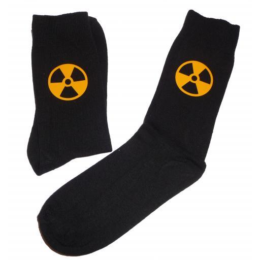 Radioactive Symbol Socks, Great Novelty Gift Socks Luxury Cotton Novelty Socks Adult size UK 6-12 Euro 39-49