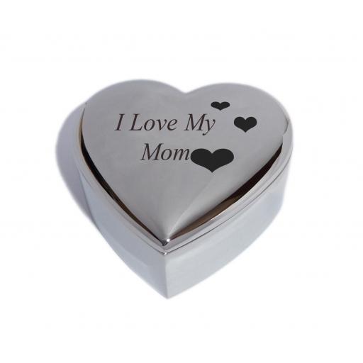 I Love My Mom Heart Trinket Jewellery Box with Love Hearts