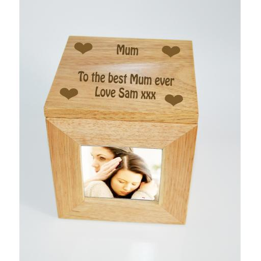 Personalised Oak Wooden Photo Box Keepsake Cube Box Engraved with Hearts