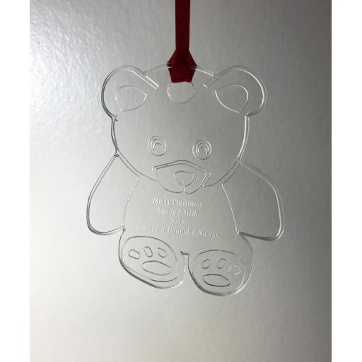 Clear Acrylic Hanging Teddy - Christmas Tree / Home Decor- Free Personalisation