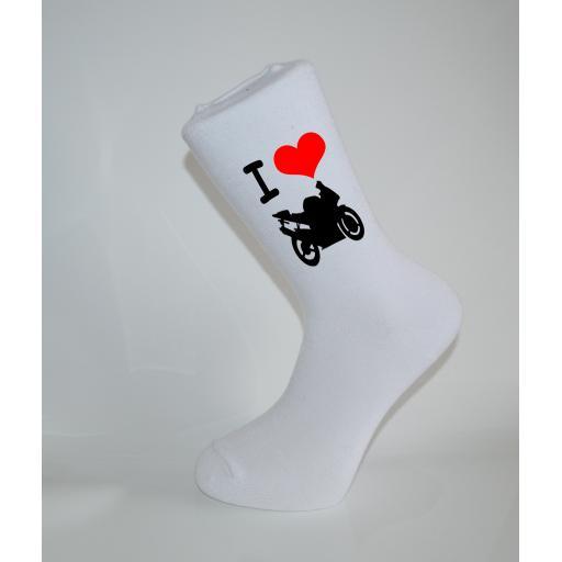 I Love My Motor Bike White Socks, Great Socks for the sportsman, Adults 6-12