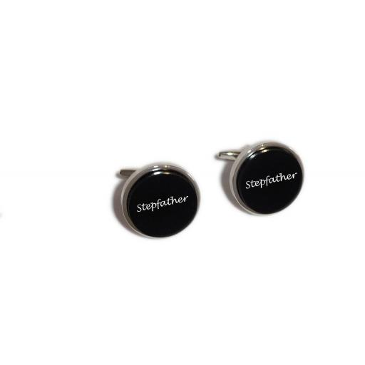 Step Father Round Black Acrylic Insert Laser Engraved Cufflinks for the Wedding Party. Goom, Best Man, Father of The Bride. All cufflinks come with an organza gift pouch.