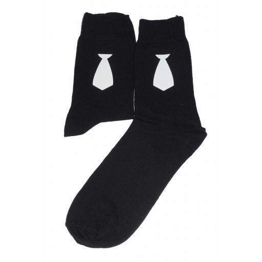 White Neck Tie on Socks, Great Novelty Gift Socks Luxury Cotton Novelty Socks Adult size UK 6-12 Euro 39-49