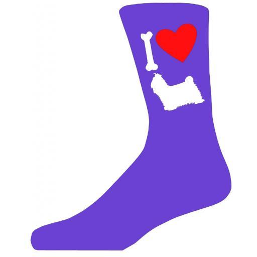 Purple Ladies Novelty Shih Tzu Socks- I Love My Dog Socks Luxury Cotton Novelty Socks Adult size UK 5-12 Euro 39-49
