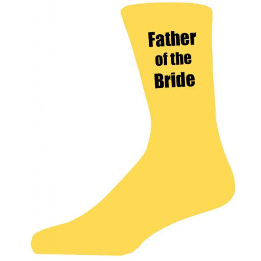 Yellow Wedding Socks with Black Father of The Bride Title Adult size UK 6-12 Euro 39-49
