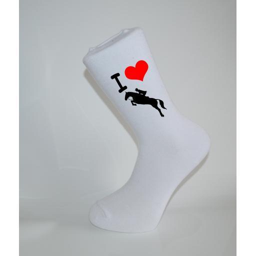 I Love Horse Riding White Socks, Great Socks for the sportsman, Adults 6-12