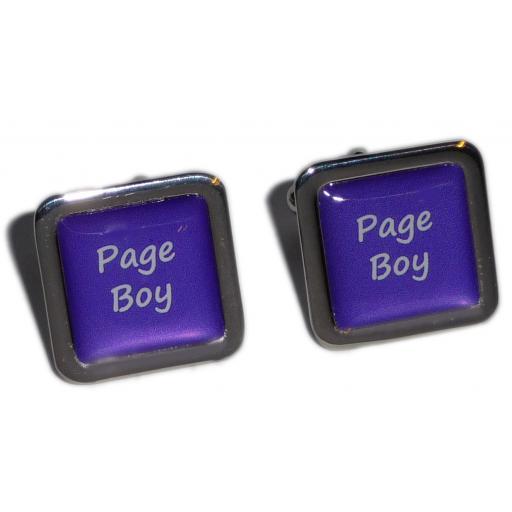 Page Boy Purple Square Wedding Cufflinks