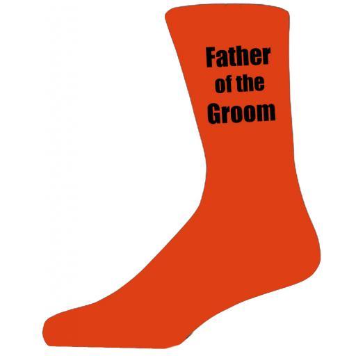Orange Wedding Socks with Black Father of The Groom Title Adult size UK 6-12 Euro 39-49