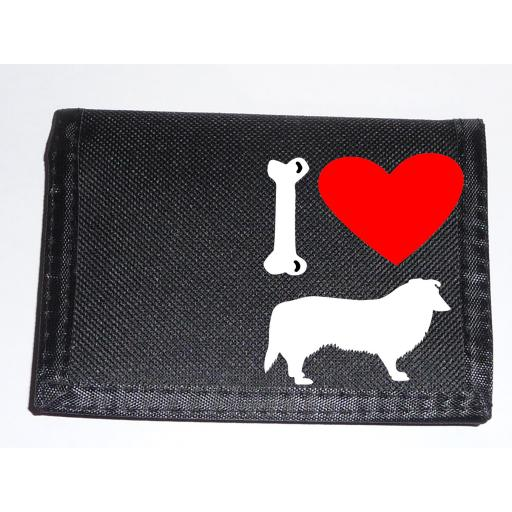 I Love Collie Dogs on a Black Nylon Wallet, Stunning Birthday, Fathers Day or Christmas Gift
