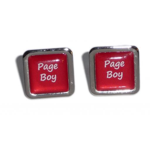 Page Boy Red Square Wedding Cufflinks