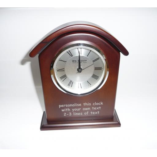 Mantel Clock - Brown Wood, Desk Clock - Personalise this clock - Free Engraving