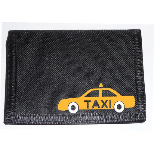 Taxi - Yellow Cab on a Black Nylon Wallet, Brilliant Birthday, Fathers Day or Christmas Gift