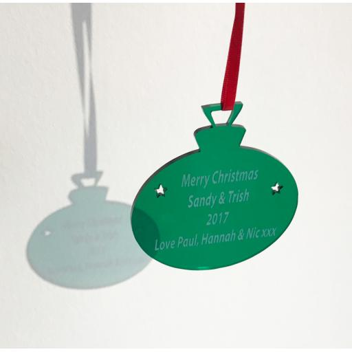 Green Acrylic Hanging Bauble - Christmas Tree / Home Decor- Free Personalisation