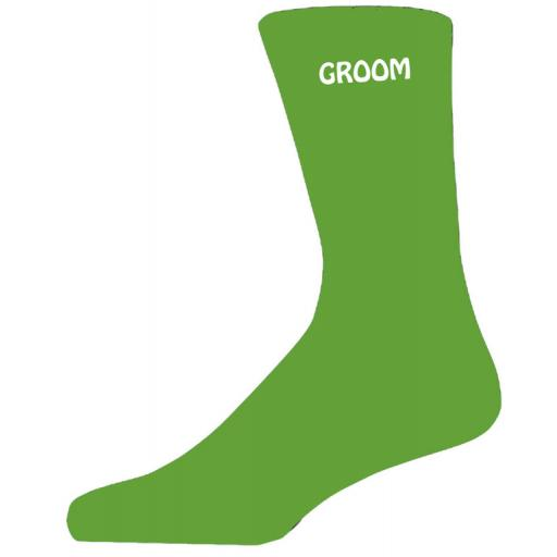 Simple Design Green Luxury Cotton Rich Wedding Socks - Groom