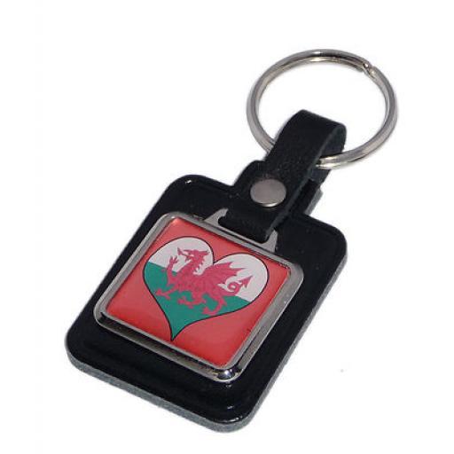 Welsh Dragon In Heart Key Ring