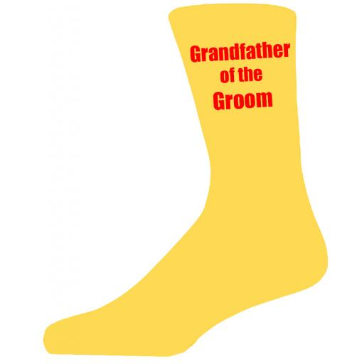 Yellow Wedding Socks with Red Grandfather of The Groom Title Adult size UK 6-12 Euro 39-49