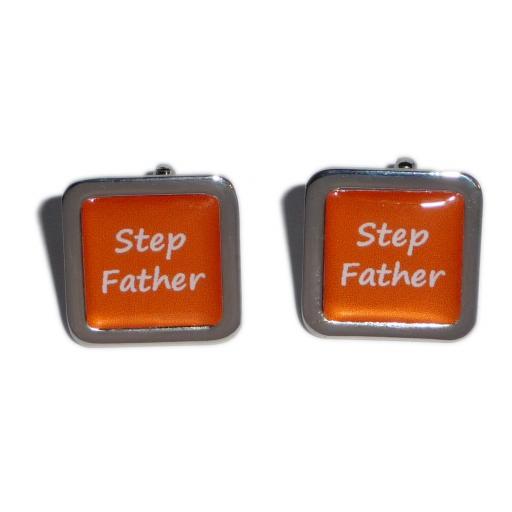 Stepfather Orange Square Wedding Cufflinks