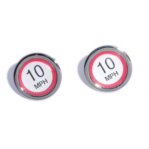 10 MPH Speed Sign cufflinks