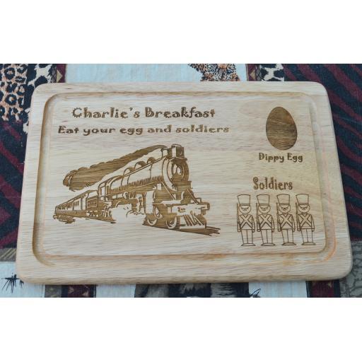 Breakfast Board - Personalised Train & Soldiers Breakfast Plate- Free Engraving