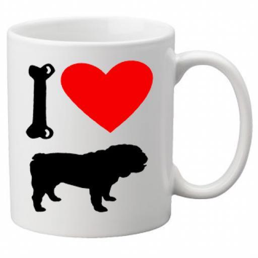 I Love British Bull Dogs on a Quality Mug, Birthday or Christmas Gift Great Novelty 11oz Mug