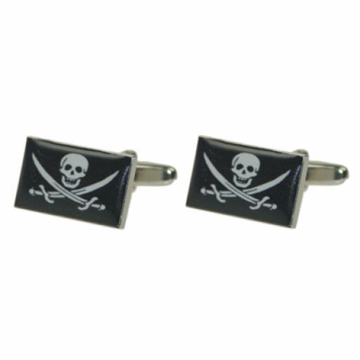 Skull & Cross Bones Flag Cufflinks (BOCF67)