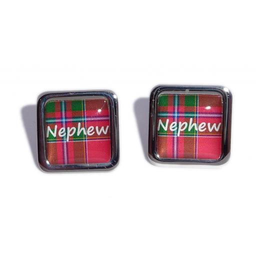 Nephew Red Tartan Square Wedding Cufflinks