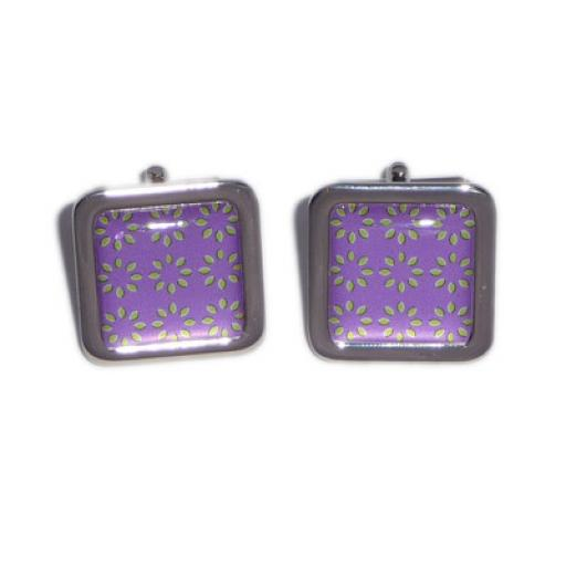 Purple & Green Pattern Illusion cufflinks