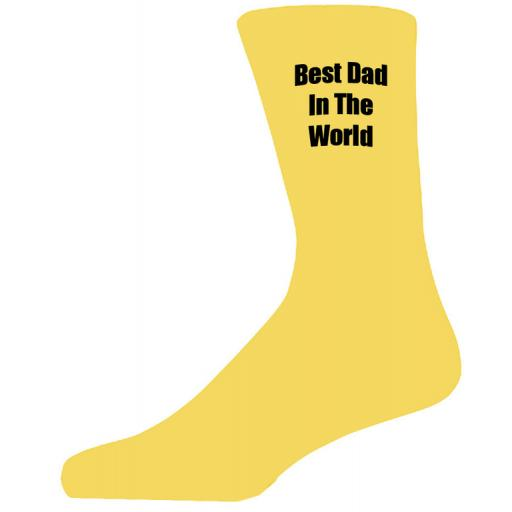 Best Dad in in the World in Black Text on Yellow Socks, Lovely Birthday Gift Adult size UK 6-12 Ideal for a Christmas, birthday or anytime gift