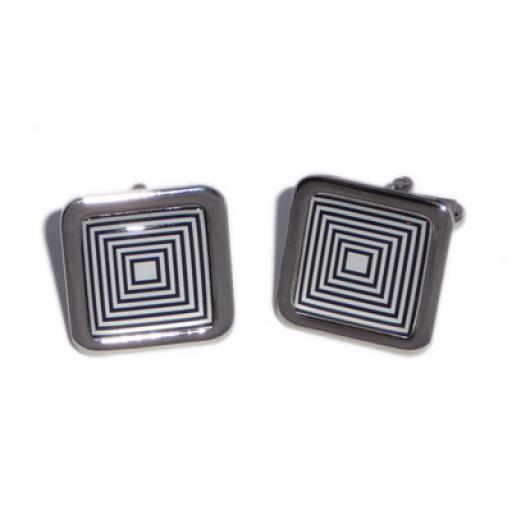 Black & White Squares Illusion cufflinks